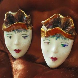 Vintage 80s 90s handmade ceramic clip on earrings